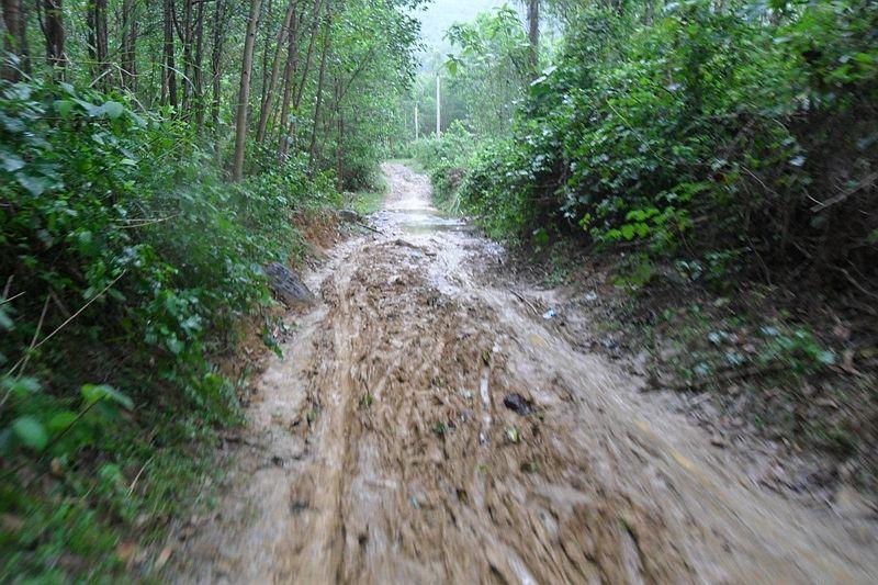 Đường vào thác hồ Giang Thơm